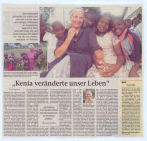 Bild vom Zeitungsartikel über den Kenia-Einsatz, Kenia veränderte unser Leben